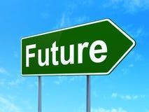 Timelinebegrepp: Framtid på vägmärkebakgrund stock illustrationer
