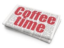 Timelinebegrepp: Kaffe Tid på tidningsbakgrund Arkivbilder