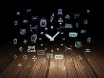 Timelinebegrepp: Klocka i mörkt rum för grunge Royaltyfri Foto