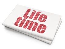 Timelinebegrepp: Liv Tid på tom tidningsbakgrund Arkivbild