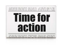 Timelinebegrepp: tidningsrubrik Tid för handling Arkivfoton