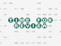 Timelinebegrepp: Time för granskning på väggbakgrund Arkivfoton
