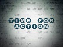 Timelinebegrepp: Time för handling på Digitala data skyler över brister bakgrund Arkivfoton