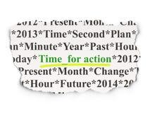 Timelinebegrepp: Time för handling på pappers- bakgrund Arkivbild