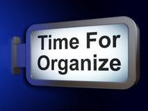 Timelinebegrepp: Time för Organize på affischtavlabakgrund Fotografering för Bildbyråer