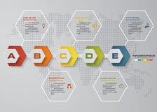 Timelineinfographics, 5 momentbeståndsdelar och symboler Mall för baner för designrengöringnummer Arkivfoto