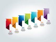 Timelinepilintrig som är infographic royaltyfri illustrationer