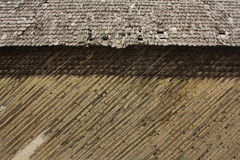 Wood wall and roof with shingles Royalty Free Stock Photos