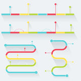 Timelines Made of Blocks and Milestones. Infographics Elements. Flat Style Royalty Free Stock Image