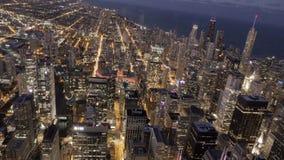 Timelipse av Chicago horisont vid natt lager videofilmer