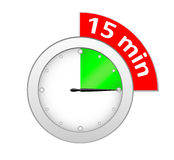 Timer 15 minutes. Illustration of timer isolated on white Stock Illustration