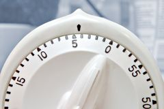 Timer. Close-up of white kitchen timer stock photo