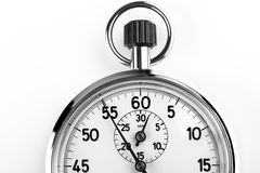 Timer. Silver stopwatch timer crop isolated on white background Royalty Free Stock Photos