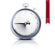Timer. Stop watch or timer with reflection and red bookmark Stock Photography