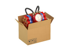 Timer Bomb in the box. Timer Bomb in the cardboard box Stock Photography