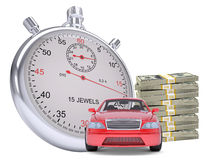 Timer with car and stack of money Royalty Free Stock Photography