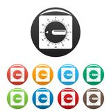 Timer clock icons set color. Timer clock icons set 9 color vector isolated on white for any design vector illustration