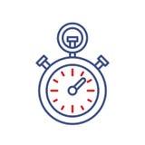 Timer clock vector line icon. Sport championship stopwatch sign. Chronometer illustration.  Royalty Free Stock Photo