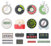 Timer clocks vector set. Royalty Free Stock Photography