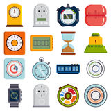 Timer clocks vector set. Royalty Free Stock Images