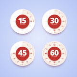 Timer collection in flat, material design style. 15, 30, 45 and 60 seconds timers. Vector illustration Royalty Free Stock Image
