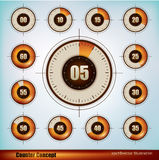 Timer display. Collection of timer icons design in five minutes increments Stock Image
