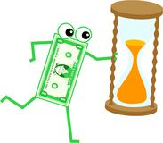 Timer dollar. Cartoon dollar man holding an egg timer isolated on white Stock Photo