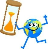 Timer globe. Cartoon world globe man holding an egg timer Royalty Free Stock Images