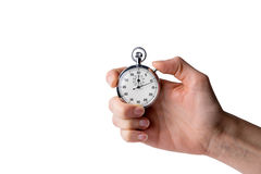 Timer hold in hand, button pressed Royalty Free Stock Images