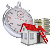 Timer with house for sale and stack of money Stock Photos