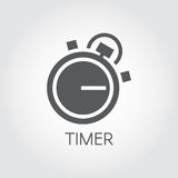 Timer icon drawing in flat style. Black graphic symbol of timepiece, deadline and precision cooking themes Stock Image