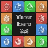Timer Icon Set with Long Shadow Royalty Free Stock Photo