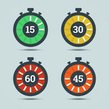 Timer icons with color gradation and numbers. Stock Image