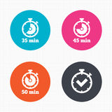 Timer icons. Fifty minutes stopwatch symbol Royalty Free Stock Photo