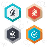 Timer icons. Fifty minutes stopwatch symbol Royalty Free Stock Images