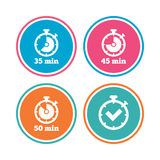 Timer icons. Fifty minutes stopwatch symbol. Timer icons. 35, 45 and 50 minutes stopwatch symbols. Check or Tick mark. Colored circle buttons. Vector stock illustration