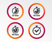 Timer icons. Fifty minutes stopwatch symbol. Timer icons. 35, 45 and 50 minutes stopwatch symbols. Check or Tick mark. Infographic design buttons. Circle Stock Photography