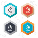 Timer icons. Five minutes stopwatch symbol. Hexagon buttons. Timer icons. 5, 15, 20 and 30 minutes stopwatch symbols. Labels with shadow. Vector Stock Illustration