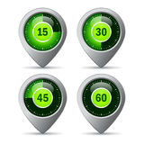 Timer icons. Set, vector illustration Royalty Free Stock Photos