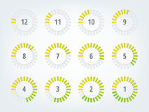 Timer infographics. Timer info graphics. 12 icons to illustrate time progress Stock Photos