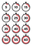 Timer line icons. Timer icons set. Stock Photo