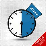 Timer 30 Minutes - Vector Illustration - Isolated On Transparent Background Royalty Free Stock Image