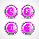 Timer 5 15 20 30 minutes. Vector illustration on white background Stock Illustration