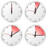 Timer mit 0, 5, 10 und 15 Minuten Stockfoto