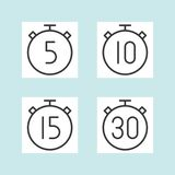 Timer outline icon, 5 10 15 and 30 minutes, outline. Vector stock illustration