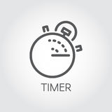 Timer outline icon. Mono linear label. Lunch time, countdown cooking, fast delivery and accuracy concept pictograph. Timer outline icon. Mono stroke linear label Royalty Free Stock Image