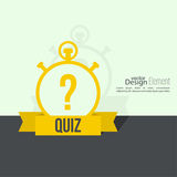 Timer with a question. Quiz. The concept is the question with the answer. Flat design with  shadow on  wall Stock Photos