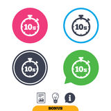 Timer 10s sign icon. Stopwatch symbol. Timer 10 seconds sign icon. Stopwatch symbol. Report document, information sign and light bulb icons. Vector vector illustration