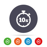 Timer 10s sign icon. Stopwatch symbol. Timer 10 seconds sign icon. Stopwatch symbol. Round colourful buttons with flat icons. Vector royalty free illustration