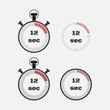 Timer 12 seconds on gray background . Stopwatch icon set. Timer icon. Time check. Seconds timer, seconds counter. Timing device. Four options. EPS 10 vector Royalty Free Stock Photo